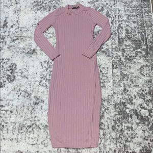 Nasty gal dress size 6 blush pink long sleeve